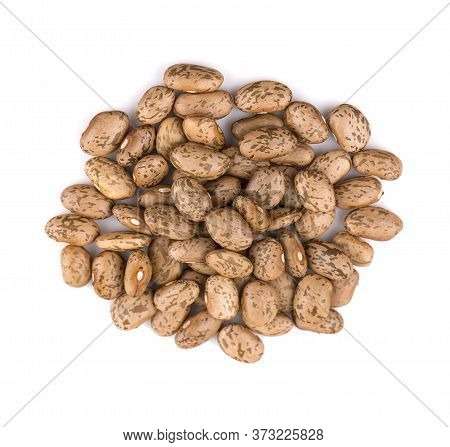 Pile Of Pinto Beans Isolated On White Background.