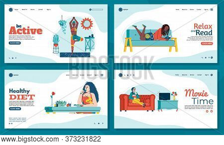 Women Enjoy Their Free Time And Spend Their Leisure Time: Yoga, Meditation, Reading Books, Diet Food