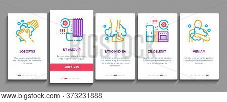 Hygiene And Healthcare Onboarding Mobile App Page Screen Vector. Cleaning Mobile Phone And Handle Sa