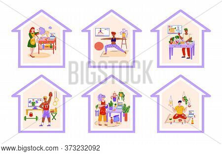 People Doing Sport Activity At Home And Enjoying Hobby Or Leisure, Flat Vector Illustrations Set Iso