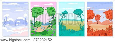 Four Seasons Landscapes Set Of Autumn And Summer, Winter And Spring Countryside Nature View, Flat Ve