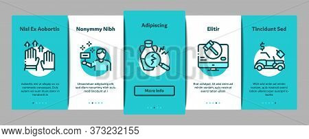 Auction Buying And Selling Goods Onboarding Mobile App Page Screen Vector. Internet Auction And Appl