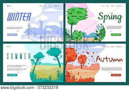 Website Banners Set With Four Seasons Landscapes Flat Vector Illustration. Backgrounds For Seasonal