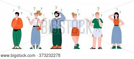 Confused People Set, Cartoon Men And Women With Question Marks Scratching Their Head And Looking Puz