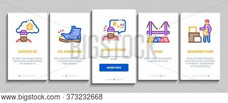 Homeless Beggar People Onboarding Mobile App Page Screen Vector. Homelessness And Shoe, Living On St