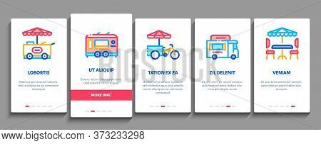 Street Food And Drink Onboarding Mobile App Page Screen Vector. Food Truck And Bicycle, Cart And Sta