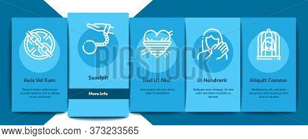 Sexual Harassment Onboarding Mobile App Page Screen Vector. Victim And Woman Sexual Harassment, Mole