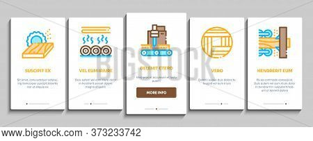 Wood Production Plant Onboarding Mobile App Page Screen Vector. Wood Sawmill And Forestry Equipment,