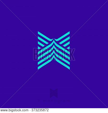 X Letter. X Monogram Consist Of Some Strips, Isolated On Dark Background. Web, Ui Icon. Identity.