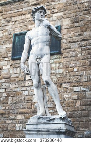 Florence, Italy - October 2019: The Statue Of David By Michelangelo Situated At The Entrance Of Pala