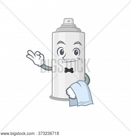 A Caricature Design Style Of Hair Spray As A Waiter With A White Napkin