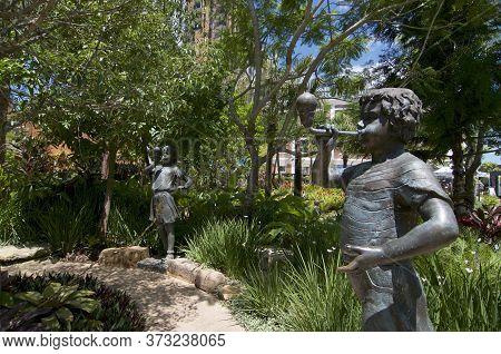 Brisbane, Queensland, Australia - 29th January 2020 : Beautiful Children Alloy Statues Located In We