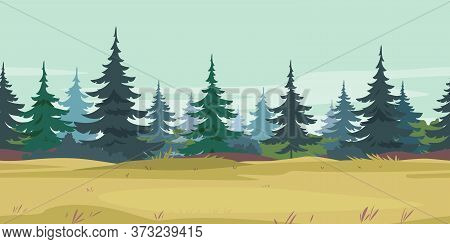 Yellow Grass Along Spruce Forest With Small Trees Game Background Tillable Horizontally, Field Grass