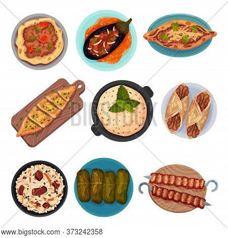 Turkish National Food With Turkish Pie Pide And Dolma Top View Vector Set