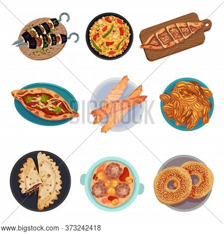 Turkish National Food With Turkish Pie Pide And Sesame Bun Top View Vector Set