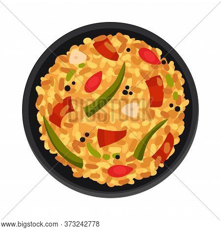 Turkish Omelette Mixed With Stewed Vegetables Top View Vector Illustration