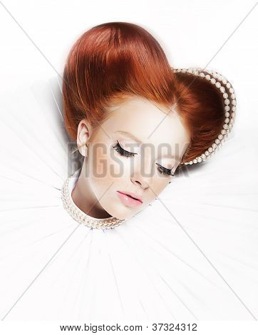 Luxurious Redhair Duchess - Freckled Girl With Pearl Necklace