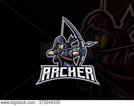 Archer Mascot Sport Logo Design. Archery Mascot Vector Illustration Logo. Archer Warrior Mascot, Emb