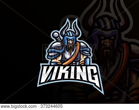 Viking Mascot Sport Logo Design. Viking Warrior Mascot Vector Illustration Logo. Barbarian Knight Vi
