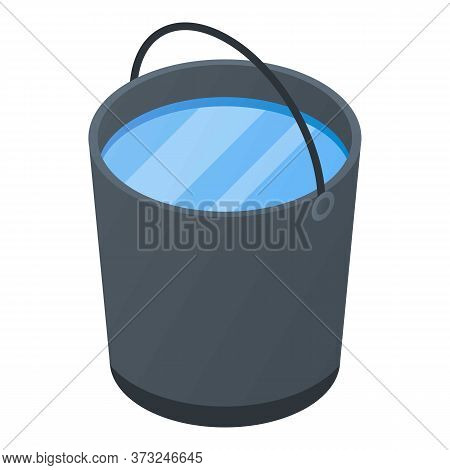 Full Water Bucket Icon. Isometric Of Full Water Bucket Vector Icon For Web Design Isolated On White