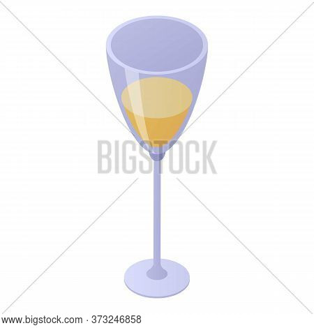 Champagne Glass Icon. Isometric Of Champagne Glass Vector Icon For Web Design Isolated On White Back