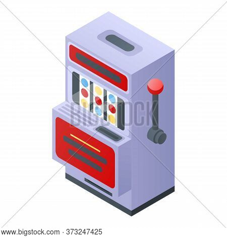 Slot Machine Icon. Isometric Of Slot Machine Vector Icon For Web Design Isolated On White Background