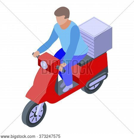 Courier Ride Scooter Icon. Isometric Of Courier Ride Scooter Vector Icon For Web Design Isolated On