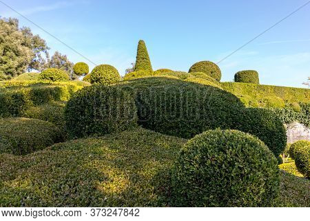 Dordogne, France - September 3, 2018: Topiary In The Gardens Of The Jardins De Marqueyssac In The Do