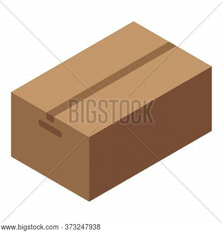 Courier Parcel Box Icon. Isometric Of Courier Parcel Box Vector Icon For Web Design Isolated On Whit