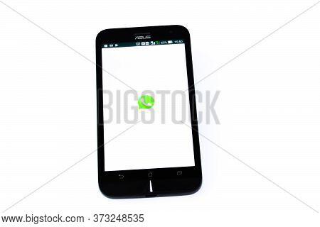 Kouvola, Finland - 23 January 2020: Whatsapp App Logo On The Screen Of Smartphone Asus