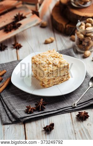 Cake Made Of Thin Crispy Layers And Cream Napoleon, Vertical