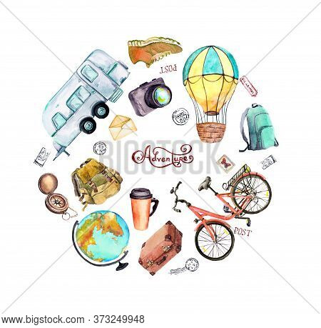 Air Balloon, Bicycle, Trailer, Suitcase, Touristic Backpack, Globe, Compass, Postal Stamps. Travel C