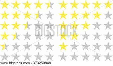 Set Of Star Ratings. Customer Review With Golden Star Icon. 5 Stars And A Half Customer Rating In A