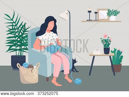 Home Relaxation Flat Color Vector Illustration. Woman Knitting While Sitting In Cozy Chair. Creative