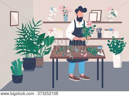 Inside Flower Shop Flat Color Vector Illustration. Course On Floristry. Man Arranging Flowers. Creat
