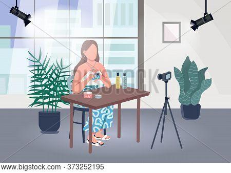 Makeup Blogger Flat Color Vector Illustration. Lifestyle Guru Shoot Video In Studio. Professional Li