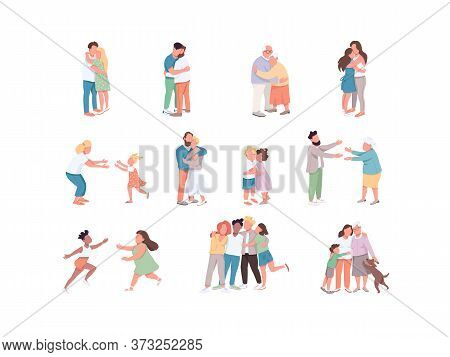 Diversity Flat Color Vector Faceless Characters Set. Same Sex And Heterosexual Couple. People Huggin