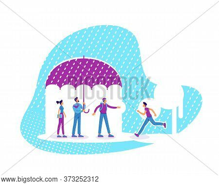Mentor And Mentees Flat Concept Vector Illustration. Personnel Training. Employees Insurance. Cowork