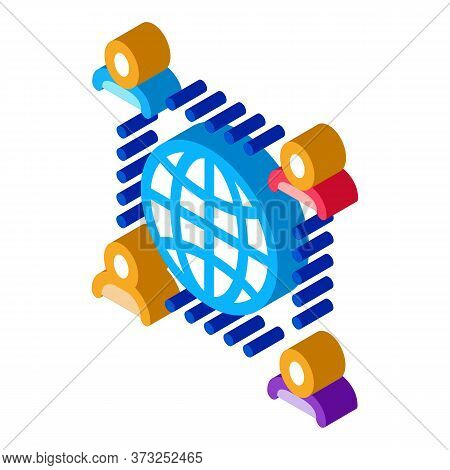 Worldwide Outsource Employees Icon Vector. Isometric Worldwide Outsource Employees Sign. Color Isola
