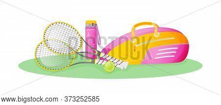 Pink Tennis Gear Flat Concept Vector Illustration. Sportswoman Lifestyle. Female Athlete Activity. S