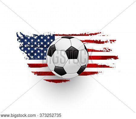 American Soccer Realistic Vector Illustration. Leather Ball With United States Of America Flag. Popu