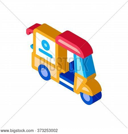 Tuk Tuk Food Delivery Icon Vector. Isometric Tuk Tuk Food Delivery Sign. Color Isolated Symbol Illus