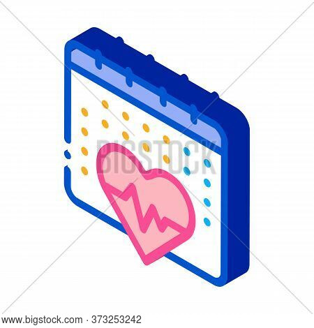 Heart Cardio Calendar Icon Vector. Isometric Heart Cardio Calendar Sign. Color Isolated Symbol Illus