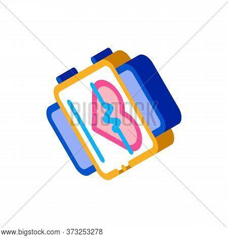 Fitness Bracelet Watch Heart Cardio Icon Vector. Isometric Fitness Bracelet Watch Heart Cardio Sign.
