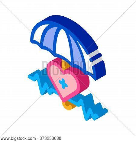 Heart Cardio And Umbrella Icon Vector. Isometric Heart Cardio And Umbrella Sign. Color Isolated Symb