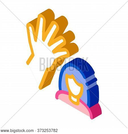 Woman Hitting Icon Vector. Isometric Woman Hitting Sign. Color Isolated Symbol Illustration