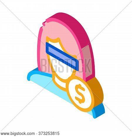 Anonymous Woman Dollar Coin Icon Vector. Isometric Anonymous Woman Dollar Coin Sign. Color Isolated