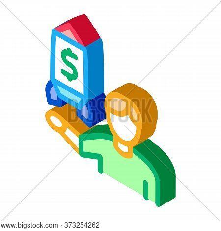 Human Show Money Rocket Icon Vector. Isometric Human Show Money Rocket Sign. Color Isolated Symbol I