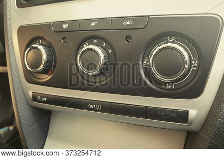 Closeup View On Air Conditioning Panel In A Car.