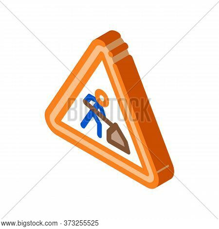 Road Repair Mark Icon Vector. Isometric Road Repair Mark Sign. Color Isolated Symbol Illustration